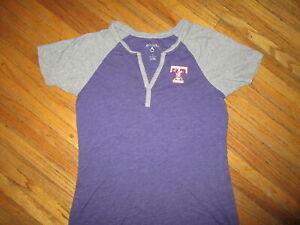 Womens TOLEDO MUD HENS T SHIRT Retro Ringer Jersey Tee Sewn Muddy Logo Purple LG