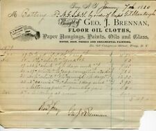 George J. Brennan Floor Oil Cloths Troy New York Merchant Signed 1880 Receipt