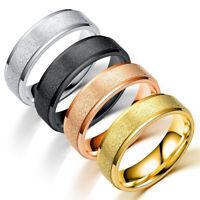 Unisex Men Couple Simple Ring Wedding Band Scrub Stainless Steel Engagement