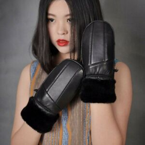 Lady Leather PU Gloves Mittens Fleece Lined Winter Warm Riding Ski Windproof