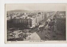 Barcelona Calle De Cortes Gran Via Spain Vintage RP Postcard 322a