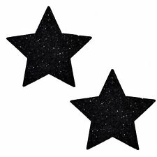 Black Glitter Star Pasties Disposable Adhesive Nipple Cover Stickers Tape