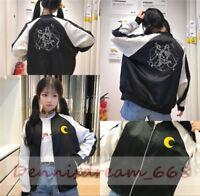 Anime Sailor Moon Black Harajuku Embroidered Women Jacket Baseball Uniform Coat