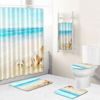 Beach Conch Bathroom Rug Set Shower Curtain Bath Towel Toilet Lid Cover Bath Mat