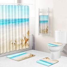 Beach Conch Bathroom Rug Set Shower Curtain Bath Towel Toilet Lid Cover Bath Mat