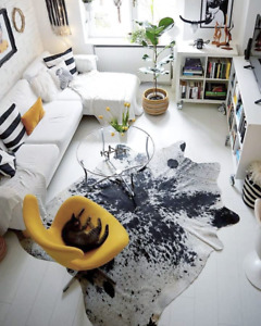 NEW LARGE 100% COWHIDE LEATHER RUGS TRICOLOR COW HIDE SKIN CARPET AREA 13-35SQFT