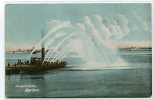 Fire Boat in Action New York City 1910c postcard