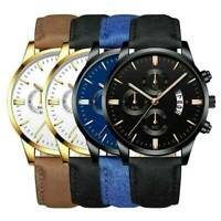 Business Sport Men's Stainless Steel Case Leather Band Quartz Analog Wrist Watch