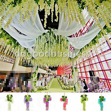 12Pack Artificial Fake Wisteria Vine Ratta Hanging Garland Flowers Wedding Party