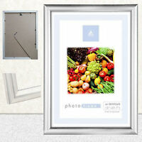 A4 Frame Photo Picture Certificate Wall & Desk Mountable Silver NO Black