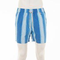 LORO PIANA $450 Blue Multicolor Technical Cotton 'Bay Corallino' Swimshorts