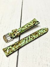 NOS Ladies Fashion Watch Strap Band 18mm - Green Brown Python Quick Release