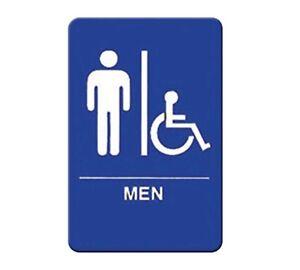 "Winco SGNB-652B, 6x9-Inch Information Sign, ""Men/Accessible"", Braille"