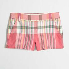 "J.CREW Ladies 3"" Madras Short Strawberry Plaid  Size 10  New with Tag"