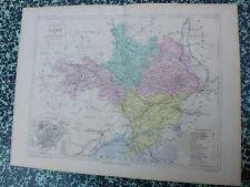 Carte géographique couleur 19°: GARD  avec plan de NIMES