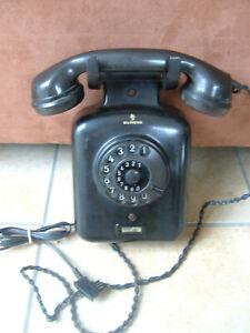 altes Wandtelefon Fernsprecher Siemens W 38 mit Anschlußkabel und Stecker