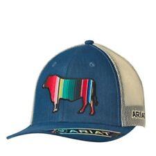 Ariat Mens Western Hat Baseball Mesh Cap Snap Back Logo Serape Bull  1517327