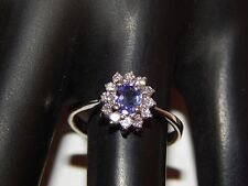 14k White Gold .57 tcw Tanzanite D-Block AAA Halo Diamond Ring E/VS2 Engagement