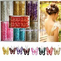 box of 12 clip on jewelled and glittered 8cm decorative butterflies wedding deco