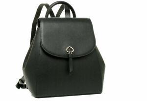 New Kate Spade New York Adel Medium Flap Backpack Leather Black