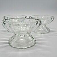 Set of 3 Vintage Footed Clear Glass Sherbet or Ice Cream Dishes