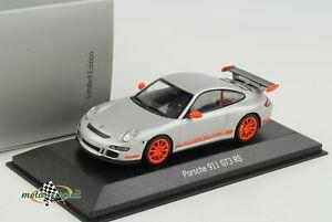 Porsche 911 997 GT3 Rs Silver With Orange Font 2007 1:43 Minichamps