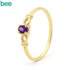 Natural Amethyst 9ct 9k Solid Yellow Gold Knot Band Ring Size P 7.75 24044/am