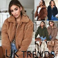 UK Womens Teddy Bear Oversized Coat Ladies Borg Zip Faux Fur Jacket Size 6-18