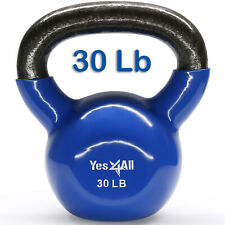 Yes4All 30 Lbs Vinyl Coated Kettlebell Cast Iron Weights Workout Gym Easy Grip²4