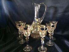 Czech bohemia crystal cut glass - Liquer set 6+1,bottle 30cm + liquer glasses 14