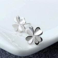 Lovely Silver Four Leaf Clover Ear Stud Earrings Women's Fashion Jewelry