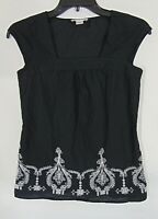 ANN TAYLOR LOFT Navy/White Embroidered Print SQUARE NECK Cap Sleeve TOP Sz 00-P
