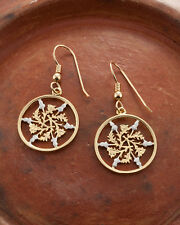 "Rhodium Plated,3/4"" in Dia, ( #129E ) Great Britian Coin Earrings, 14K Gold and"