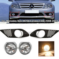 Pair Fog Light Lamp with Grille Cover For Mercedes Benz W204 2008 2009 2010 New