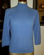 NORDSTROM CASLON 100% Cashmere Blue Mock Neck 3/4 Sleeve Knit Sweater - sz M