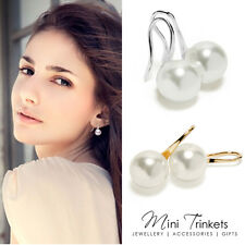 Women's Silver / Gold Plated Simulated Pearl Fish Hook Drop Dangle Earrings