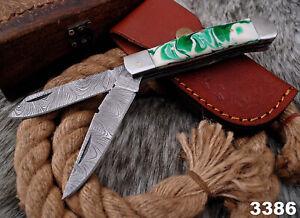 CUSTOM Handmade DAMASCUS Steel Folding Blade Trapper Knife dual Blade + Sheath