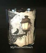 Lg. votive candle holder Halloween Crow Raven