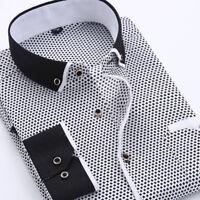 Fashion Mens Plaid Print Casual Cotton Long Sleeve Smart Business Dress Shirts