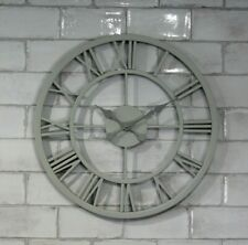 GARDEN WALL CLOCK SKELETON LARGE KITCHEN OUTDOOR ORNAMENT GIANT OPEN FACE METAL