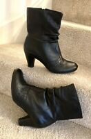 "Clarks Softwear Uk 8 Soft Black Leather Ankle Boots Women's 3"" Cone Heel"