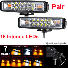 Pair 48W 4800LM Car Motorcycle LED Working Lights Fog Warning Flash Strobe Lamps