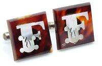 Vintage Cufflinks Letter F Initial Mother of Pearl Inlay Faux Tortoise Shell