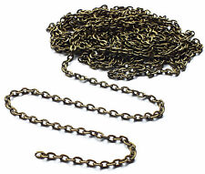 2 x Meter Antique Bronze Tone 3x2mm Flat Link Fine Trace Chain, Crafts 3mm x 2mm