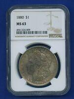 1880 P NGC MS63 Morgan Silver Dollar $1 Better Date 1880-P NGC MS-63