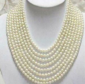 """Beautiful 8 Rows 6-7mm Natural  White Freshwater Real Pearl Necklace 17-24"""""""
