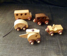 ~vintage WOOD TOY CARS • BUS • MOUSE • LOT of 5 ~ Montgomery Schoolhouse Vermont