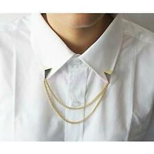 2pcs Punk Triangle Stud Brooch Collar Chain Necklace Shirt Neck Collar Tips