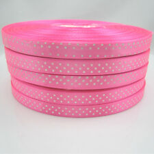 Free shipping Bulk 50 Yards 3/8 9mm Polka Dot Ribbon Satin Craft Supplies Pink