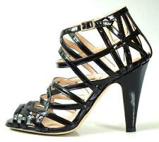 new $595 LOEFFLER RANDALL 'Adelinel' black patent strappy open-toe cage shoes 5